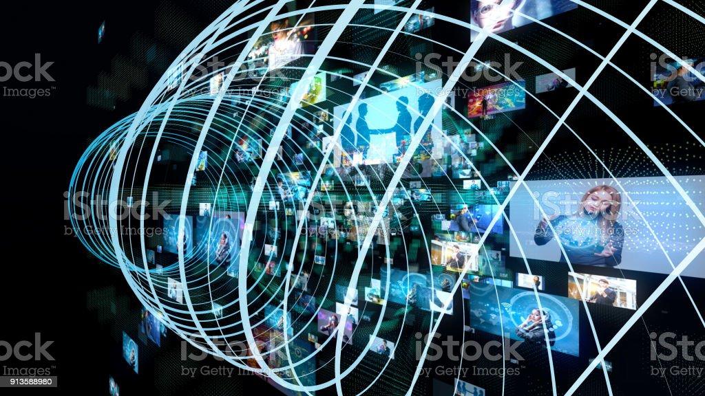 Sociala medier koncept. Tekniska abstrakt bakgrund. bildbanksfoto