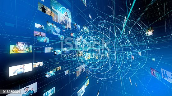 istock Social media concept. Technological abstract background. 913589004