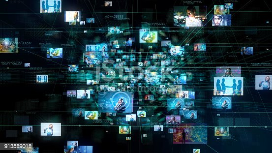 istock Social media concept. Technological abstract background. 913589018