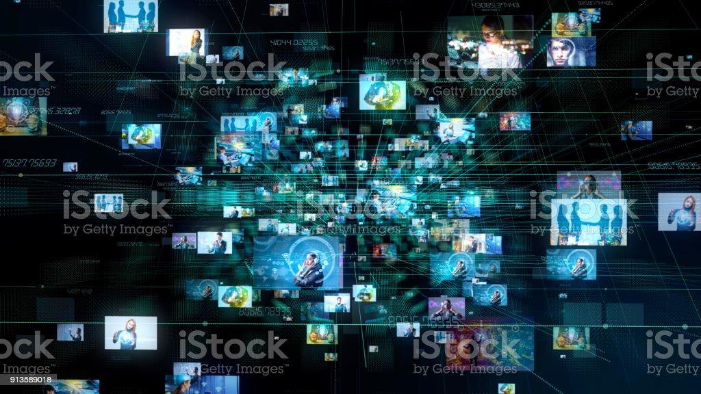 Concepto de medios de comunicación social. Antecedentes tecnológicos. - foto de stock