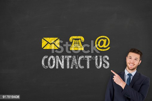 istock Social Media Contact Us on Chalkboard Background 917519408