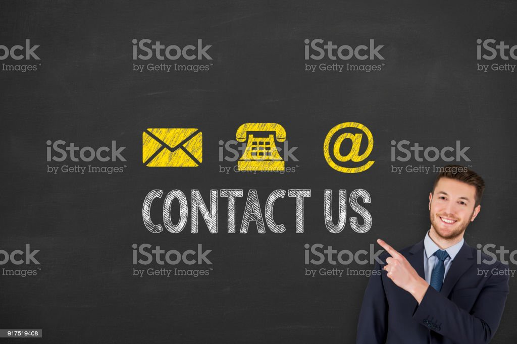 Social Media Contact Us on Chalkboard Background stock photo