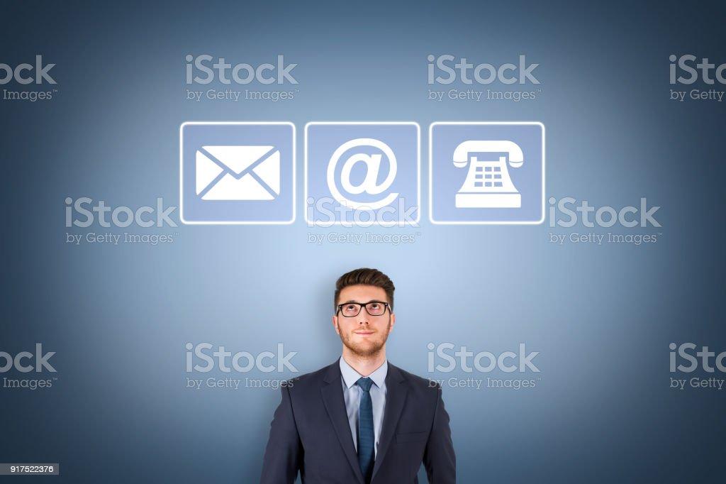 Social Media Contact Us on Visual Screen stock photo