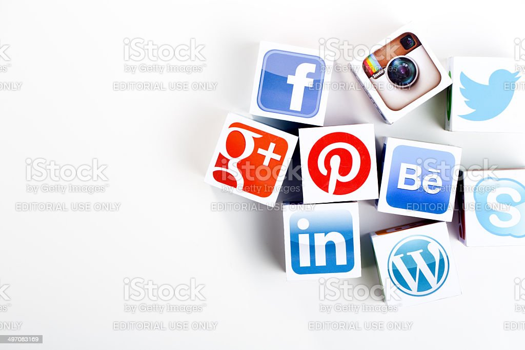 Social media cubes on a white background royalty-free stock photo