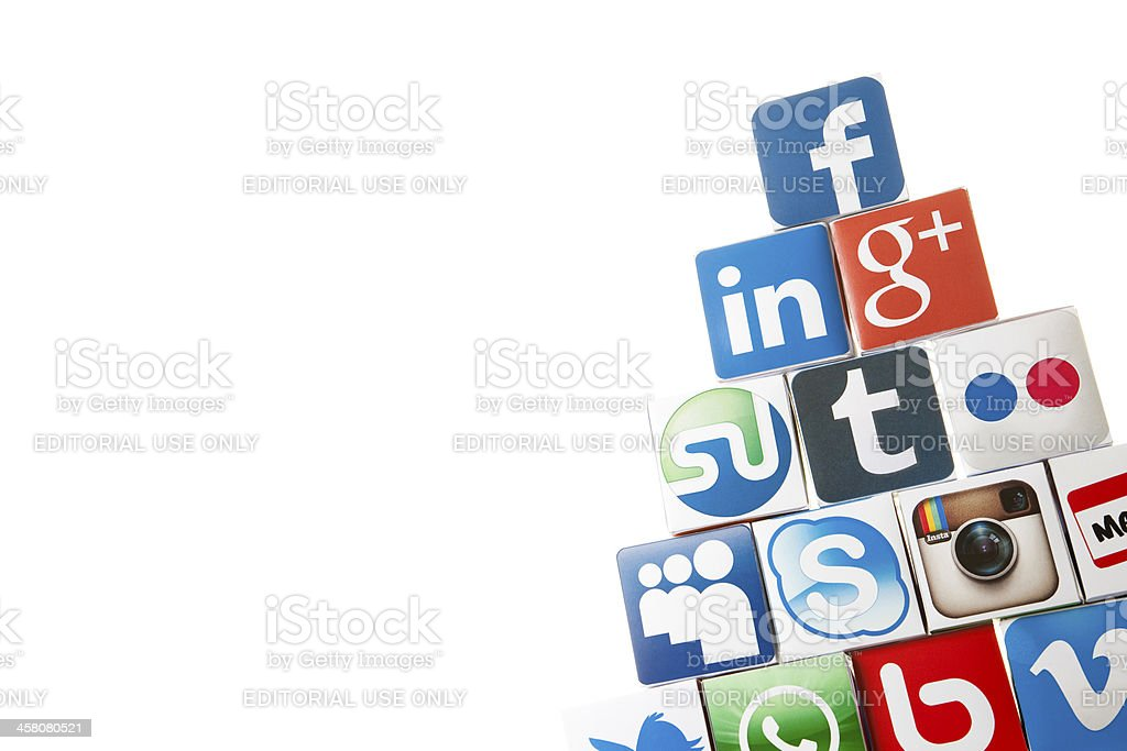 Social media cubes royalty-free stock photo