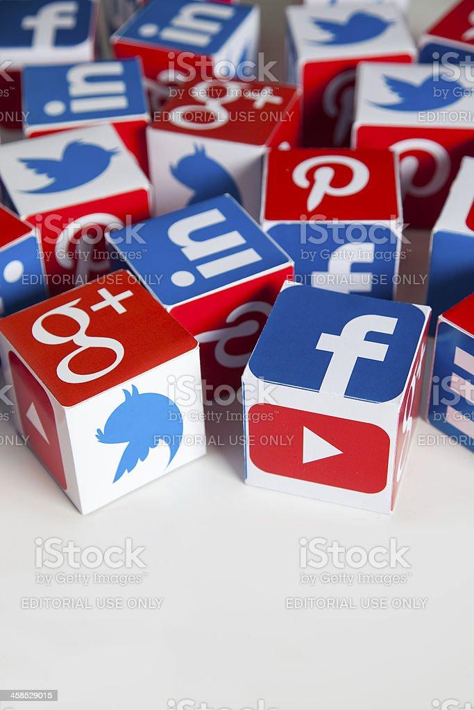 Social media cubes royalty-free stock photo