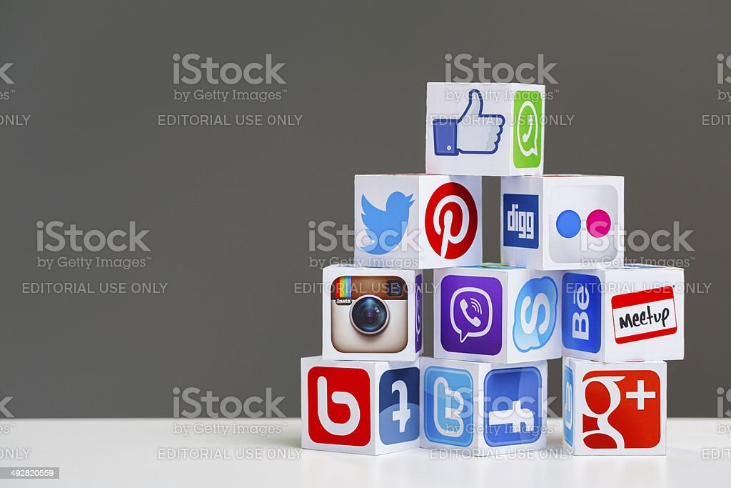 Social media cubes with copy space stock photo