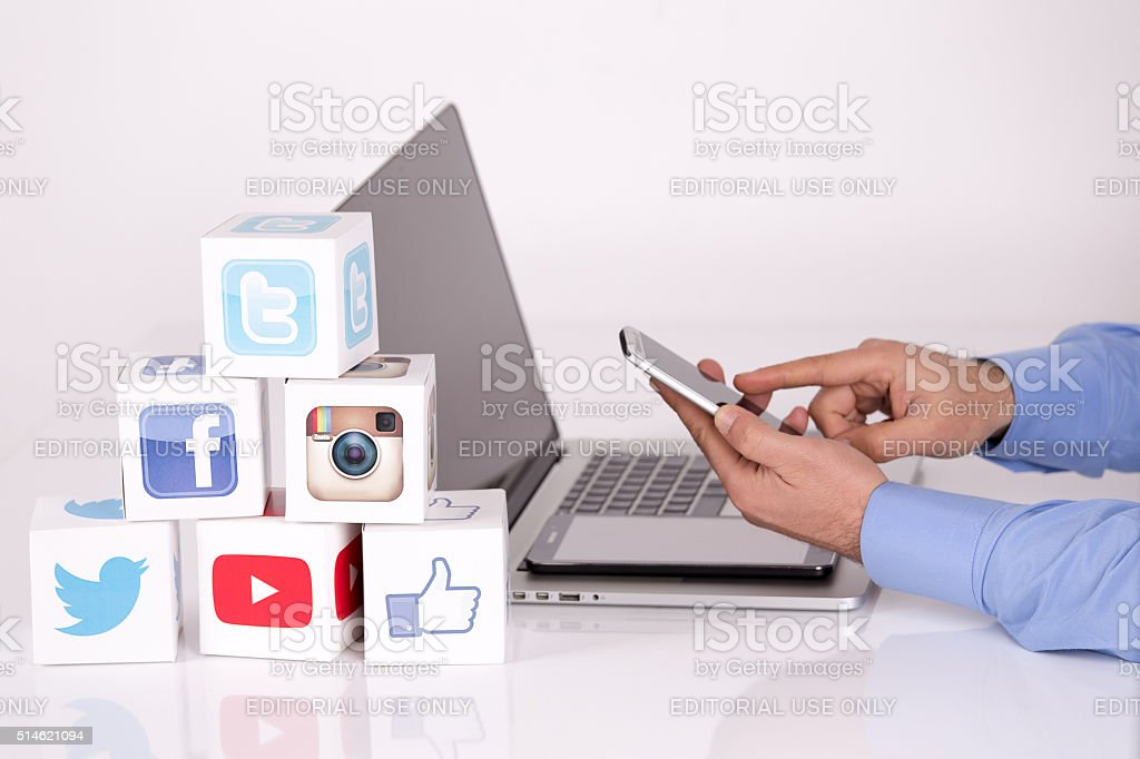 Social Media Cubes with Mobile Devices stock photo