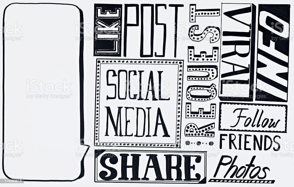 Social Media Doodle royalty-free stock photo