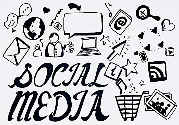 rabisco de mídia social - desenhos de notas musicais - fotografias e filmes do acervo