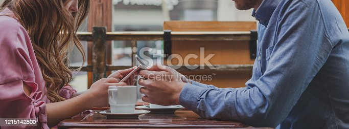 social media, hands with smartphones banner, online communication, close up of couple with mobile phones using internet