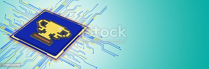 185317823 istock photo Social media, high tech or computer concept, pixaleted gold trophy image on CPU with large copy space. 1155203089