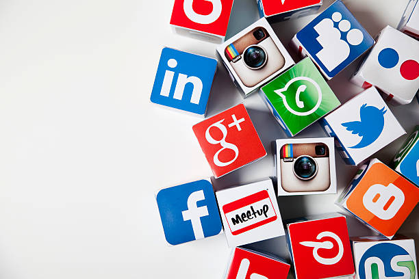 social media icon blocks - logo stock photos and pictures