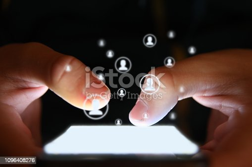 istock Social media icon computer network connection community people mobile phone app 1096408276