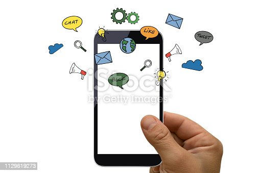 istock Social media icon computer network connection community people mobile phone app 1129619273