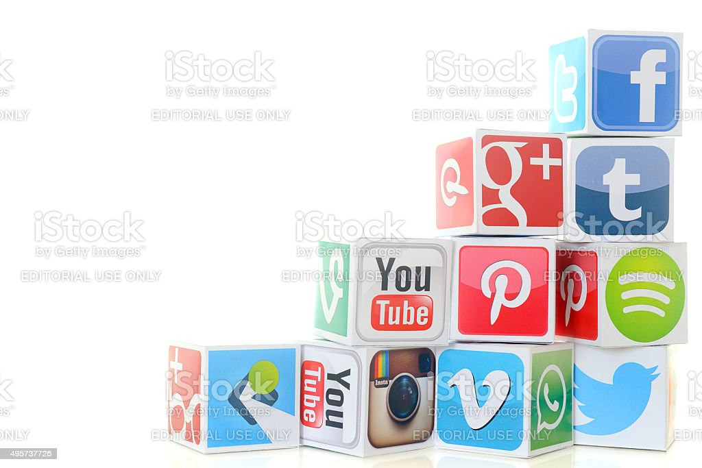 Social media icon cubes including Twitter and Facebook stock photo