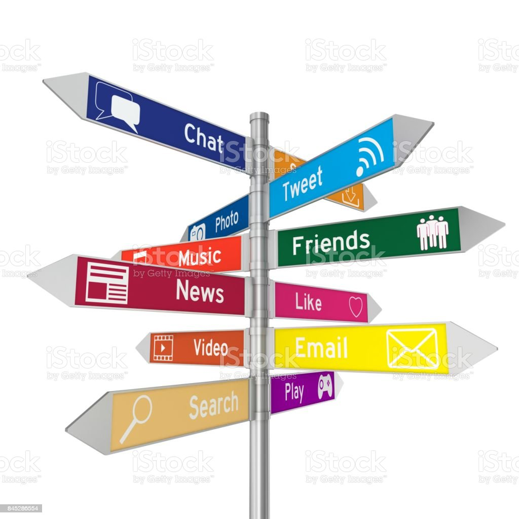 Social media icons directional sign stock photo
