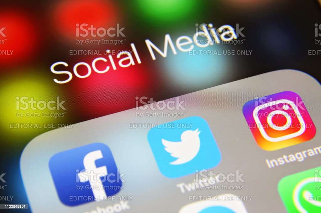 Social media icons internet app application London, UK - 02 06 2019: Apple iPhone 6s screen with social media icons applications Facebook, Twitter, Instagram, WhatsApp, WeChat, Telegram, Skype, Youtube, Snapchat etc. Auto Post Production Filter Stock Photo
