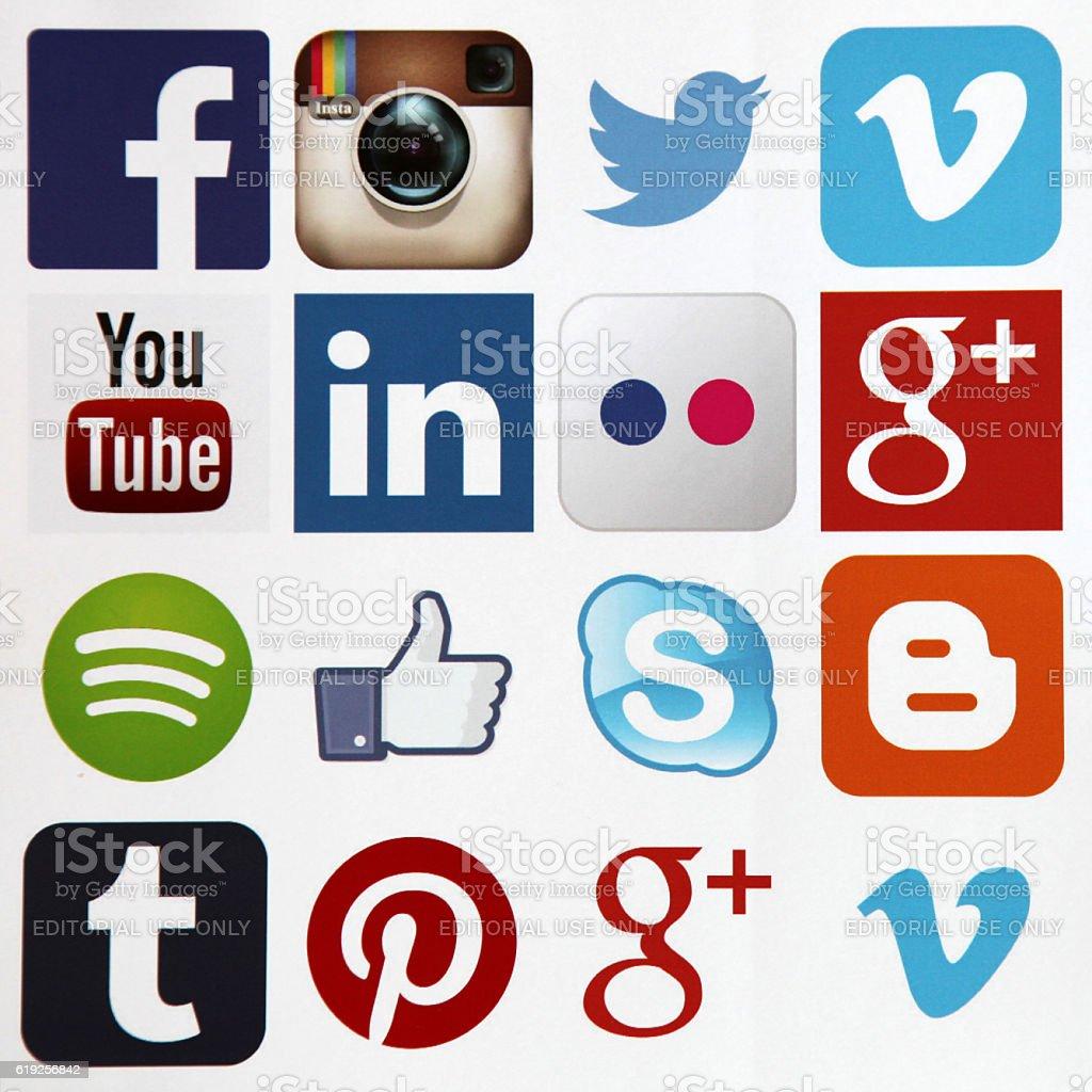 Social media icons internet app application stock photo