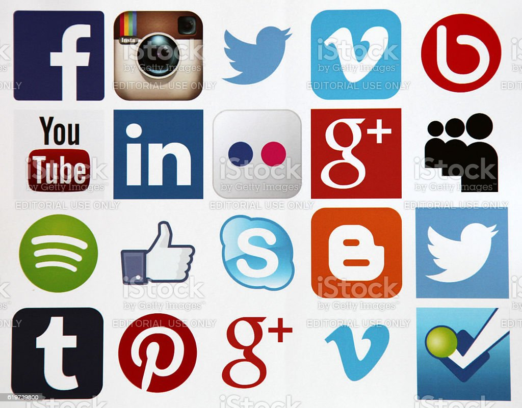 Social media icons internet app application stock photo