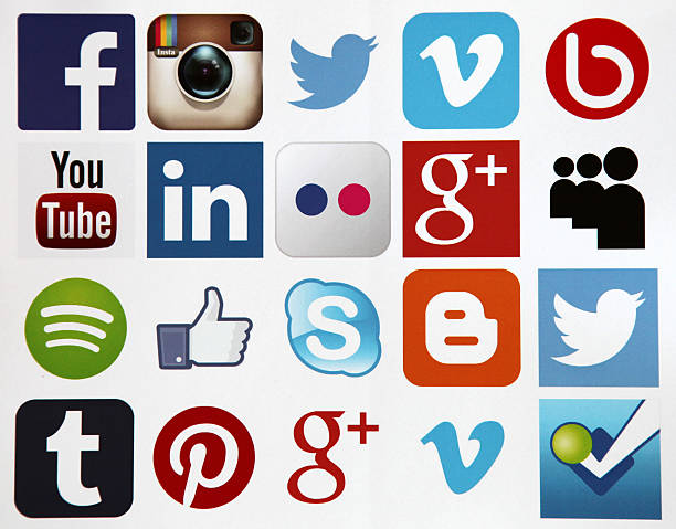 Social media icons internet app application 스톡 사진