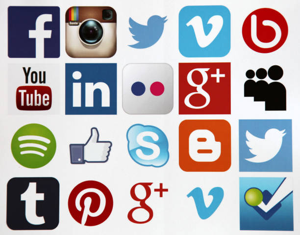 social media icons internet mobile app application - logo stock photos and pictures