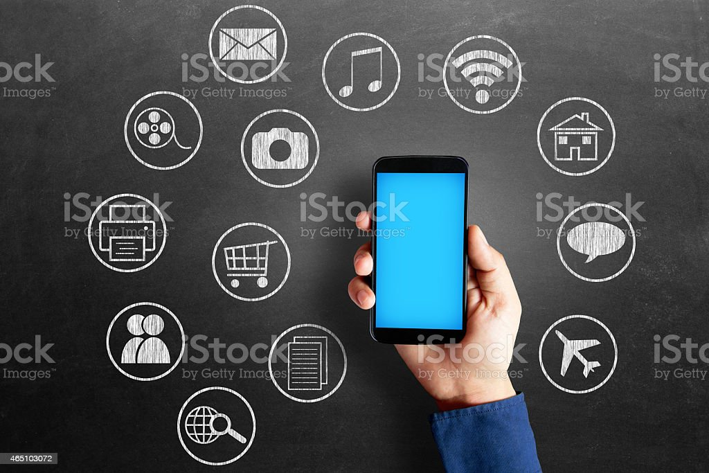 Social media icons on blackboard stock photo