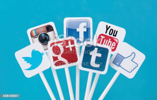 istock Social media icons on plastic signs 458456841