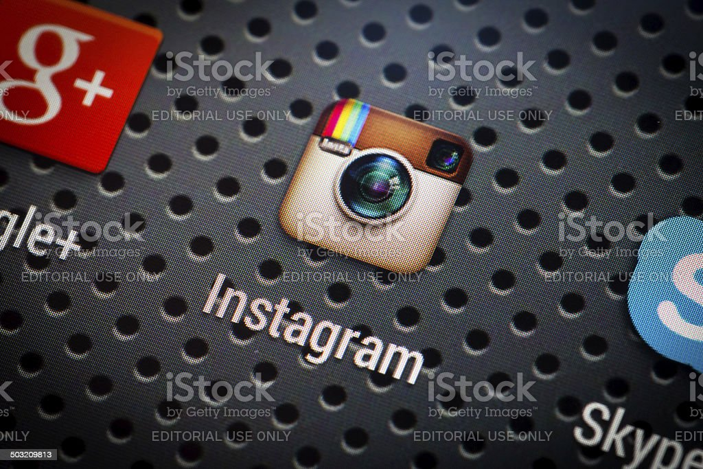 Social media icons on smart phone screen. stock photo