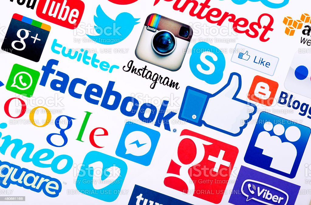 Social media icons stock photo