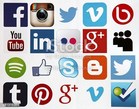 Berlin, Germany - July 16, 2015: Social media icons Facebook, Instagram, Twitter, Vimeo, Youtube, LinkedIn, Flickr, Google Plus, Spotify, Skype, Blogger, Tumblr, Pinterest etc. printed on white paper.