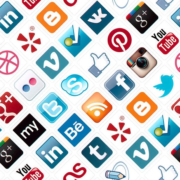 Social Media Icons Seamless Pattern stock photo