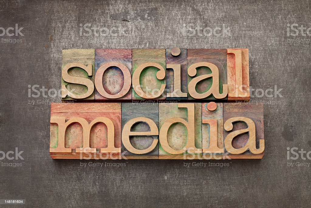 social media in wood type royalty-free stock photo