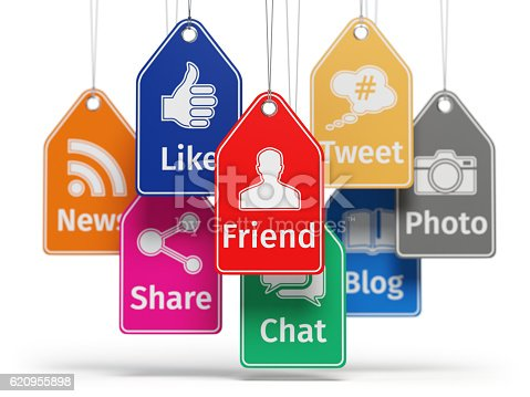istock Social media internet communication concept. Signs of apps on th 620955898