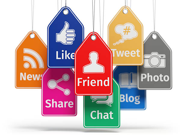 Social media internet communication concept. Signs of apps on th stock photo