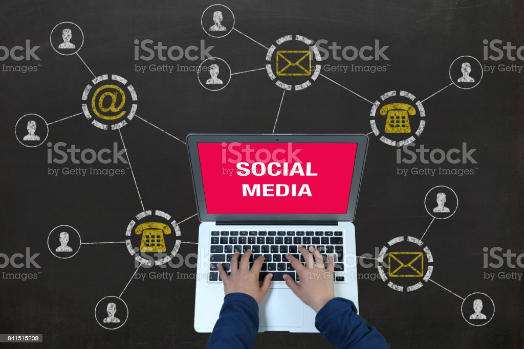 Social media internet network technology blackboard stock photo