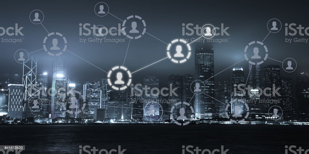 Social media internet network technology communication stock photo