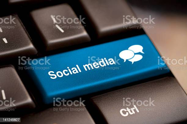 Social Media Keyboard For Chatting Stock Photo - Download Image Now