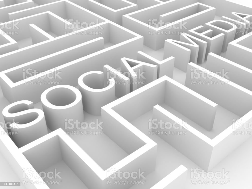 Social media labyrinth concept stock photo