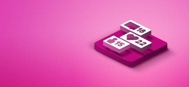 3d social media like icon - advertising isometric stock pictures, royalty-free photos & images