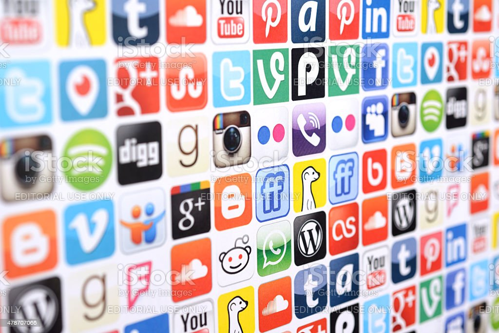 Social media logo and icons stock photo