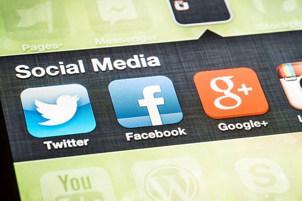 Social Media Logos on iPhone 4 screen stock photo