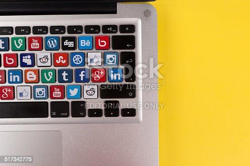 Sakarya, Turkey - October 1, 2014: Social Network Brands Logos Placed on Computer Keyboard