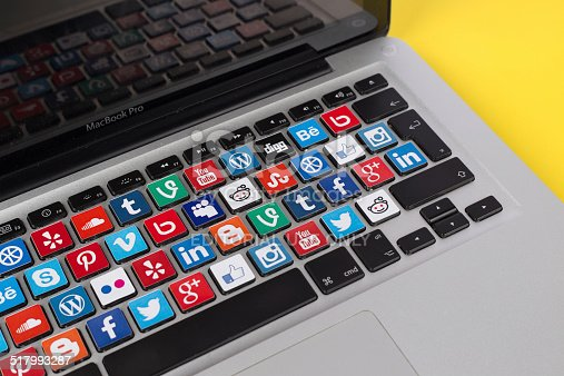 Sakarya, Turkey - October 1, 2014: Social Network Brands Logos Placed on Computer Keyboard