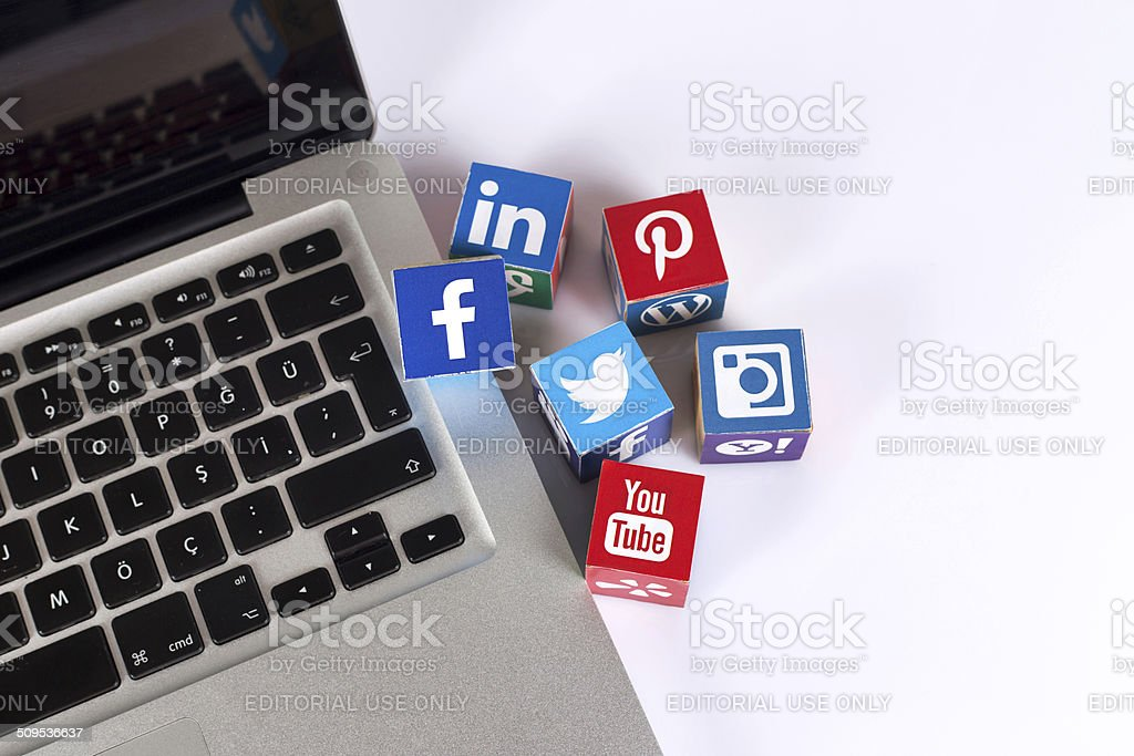 Social Media Logos on the Laptop stock photo