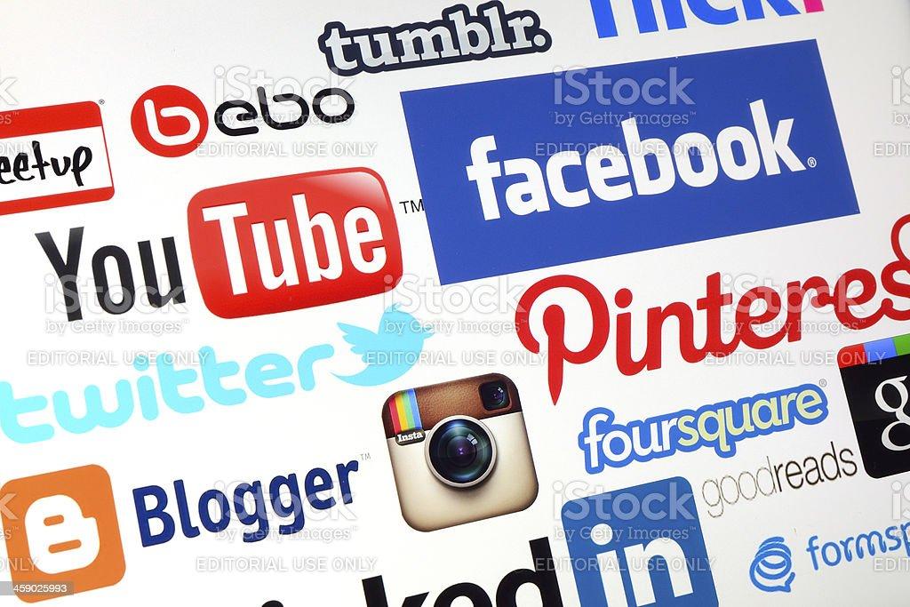 Social media logos royalty-free stock photo