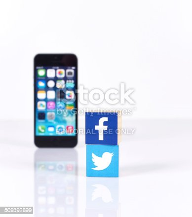 istock Social Media Logos with iPhone5 509392699