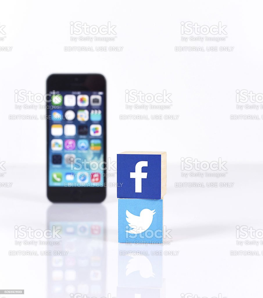 Social Media Logos with iPhone5 stock photo
