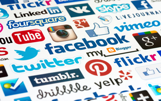 Kiev, Ukraine - October 19, 2012: A logotype collection of well-known social media brand's printed on paper. Include Facebook, YouTube, Twitter, Google Plus, Instagram, Vimeo, Flickr, Myspace, Tumblr, Livejournal, Foursquare and more other logos.