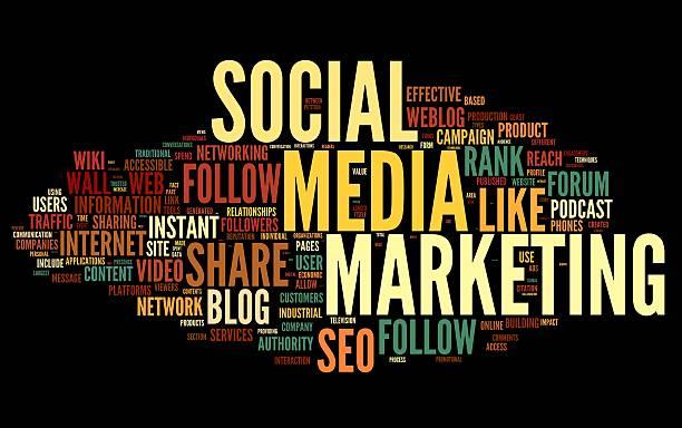 Social media marketing in tag cloud stock photo